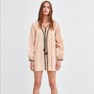 Zara Pale Pink Tunic With Embroidery